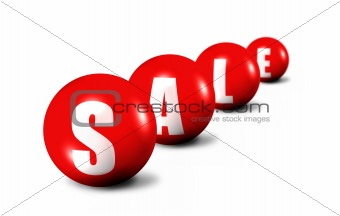 red sale word made of spheres
