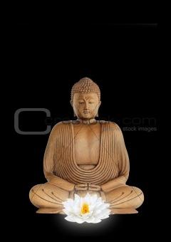Buddha and White Lotus Flower