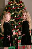 shot of twin sisters sharing a present vertical