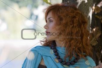 sky-blue scarf