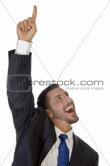 happy businessman pointing upward