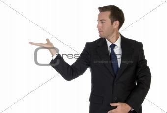 businessman looking his palm