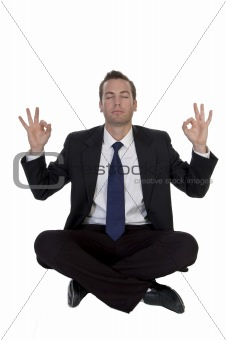 sitting businessman showing hand gesture