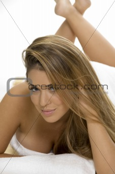 sexy pose of  laying sensuous woman