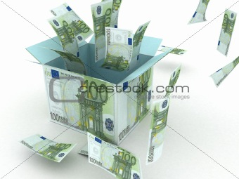 three dimensional gift box opened with 100 euro bill flying in the air