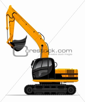 vector power-shovel for construction isolated