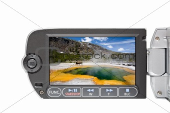 camcorder LCD menu isolated