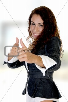 woman showing thumb's up