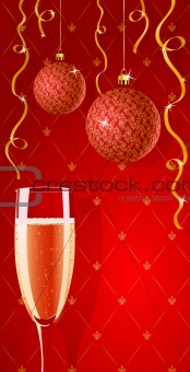 Vector holiday glamour wallpaper with champagne