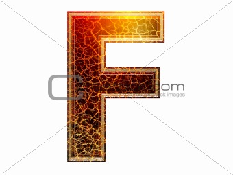 capital 3d Letter with crackled texture