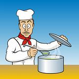 Chef testing soup