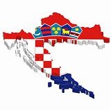 map and flag of croatia