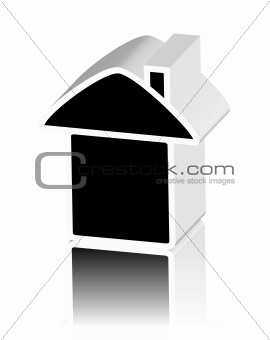 black logo of house