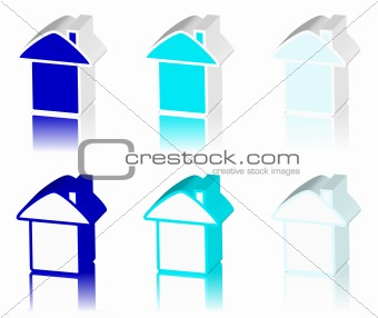 blue logo of house