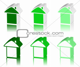 green logo of house