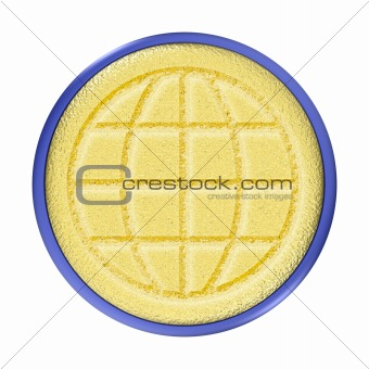Carved Gold World Button