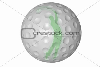 3d Golf Ball With Player Silhouette