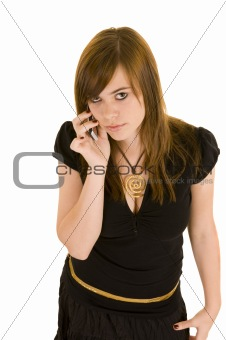 Beautiful young lady on the phone