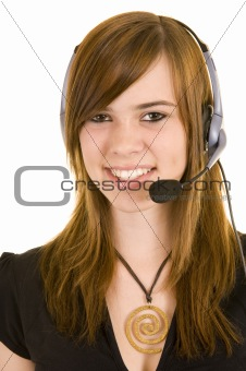 Beautiful young lady with headset