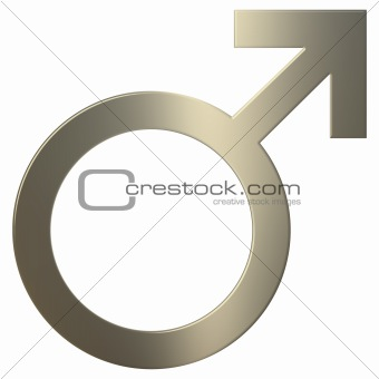 3d Gold Male Symbol