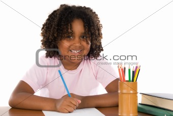 Adorable african girl writing