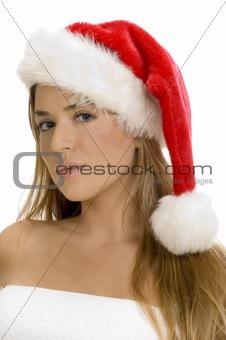 posing sexy lady with santa cap