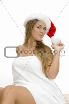 posing smiling woman with santa cap and towel