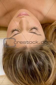 portrait of sleeping blonde female