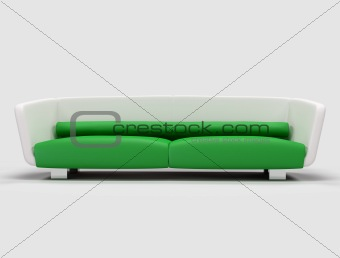 green and white sofa