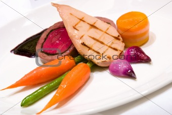 Grilled Chicken Breast with Veal Tenderloin Terrine