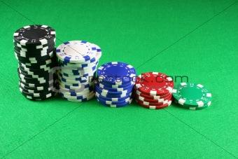 5 stacks of Poker Chips