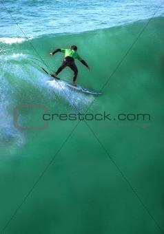Riding a huge wave