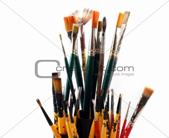PaintBrushes on a white Background - Close up