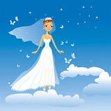 The beautiful happy bride flies on clouds
