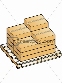 Boxes stacked on pallet