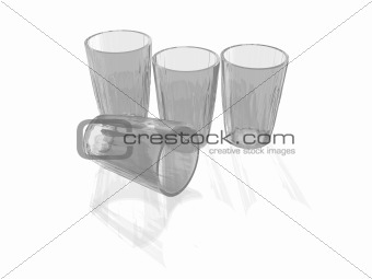 Four clean Glasses