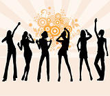 Young girls dancing - vector