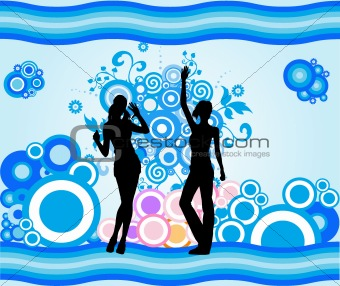 Posing Girls - Vector Silhouette Illustration