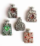 Five perfume bottles