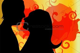 kissing couple on valentine