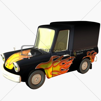 Toon Car Delivery Flames