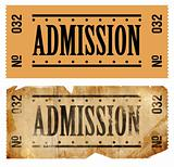 Fake Admissions Tickets. New and old/aged.