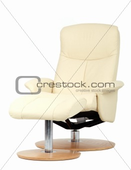 Off-white recliner with footstool