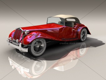 3D generated model of red vintage car in side view