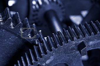 Dirty industrial gears background