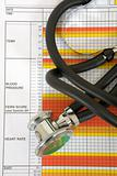 Stethoscope with medical chart