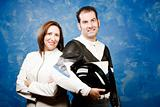 Couple in leather motorcycle clothing