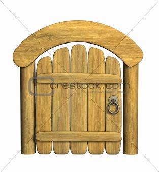 Closed ancient wooden door