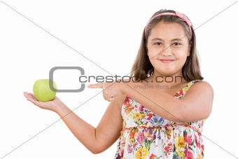 Adorable girl with flowered dress with a apple