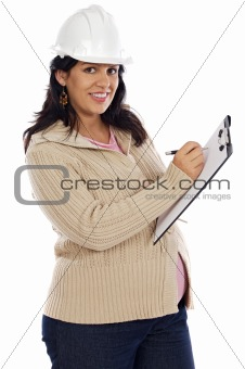 Attractive pregnant engineer